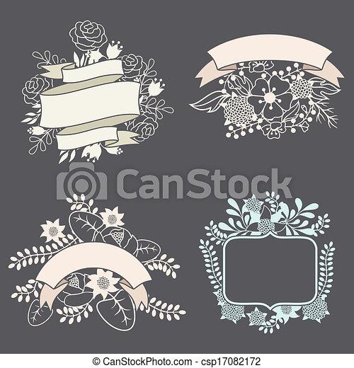 セット, ラベル, 要素, デザイン, リボン, 花 - csp17082172