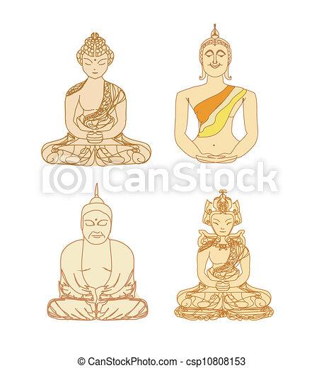 セット, 中国語, パターン, 伝統的である, 仏教, ベクトル, 芸術的 - csp10808153
