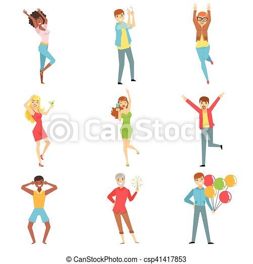 セット, 人々, 楽しみ, イラスト, パーティー, 持つこと - csp41417853