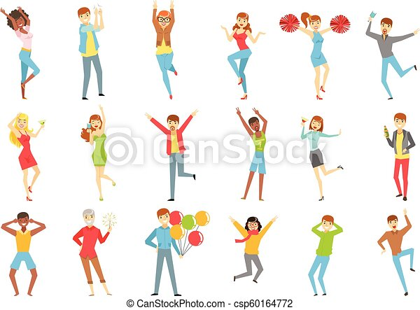 セット, 人々, 楽しみ, イラスト, パーティー, 持つこと - csp60164772