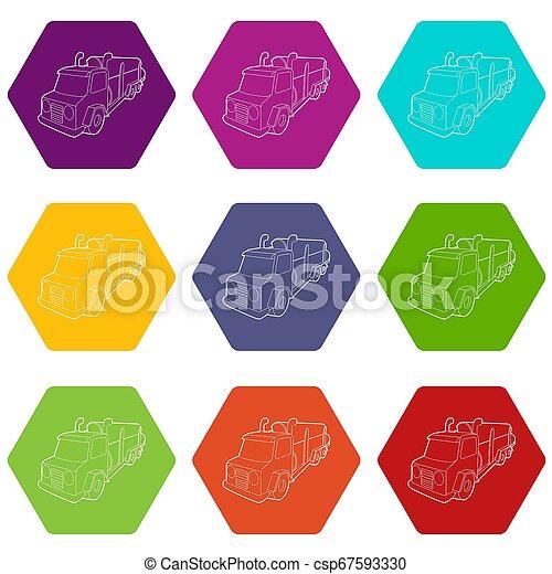 セット, 伐採, 木材を伐採する, アイコン, トラック, 9 - csp67593330