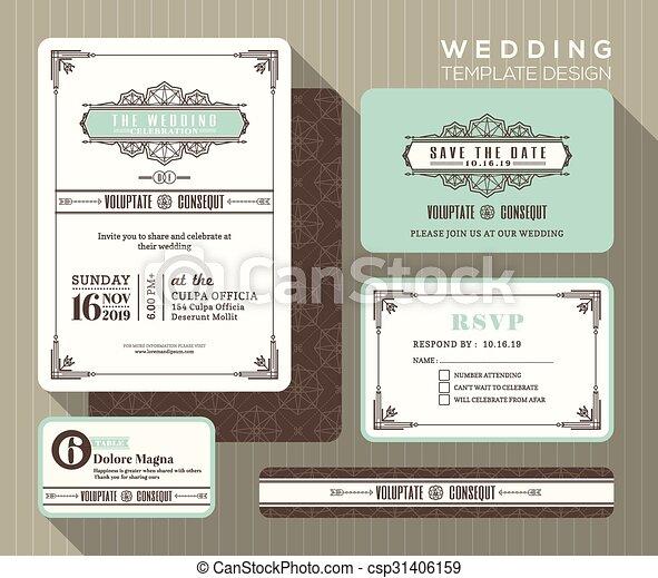 セット, 型, 結婚式, デザイン, テンプレート, 招待 - csp31406159