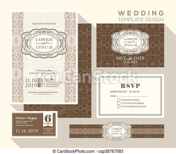 セット, 型, 結婚式, デザイン, テンプレート, 招待 - csp38767083
