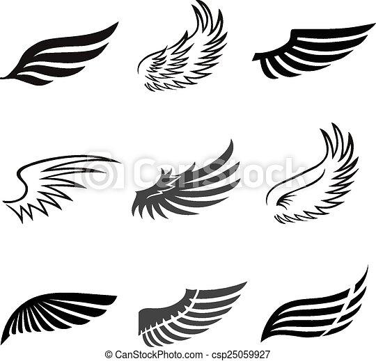 セット 天使 アイコン 抽象的 隔離された 翼 鳥 ベクトル 羽