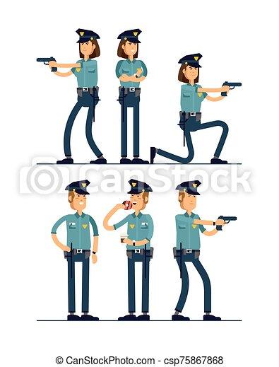 セット, 安全, 白, 地位, 隔離された, 公衆, 士官, ユニフォーム, ベクトル, マレ, character., 女性, 別, イラスト, 特徴, バックグラウンド。, poses., 警官 - csp75867868