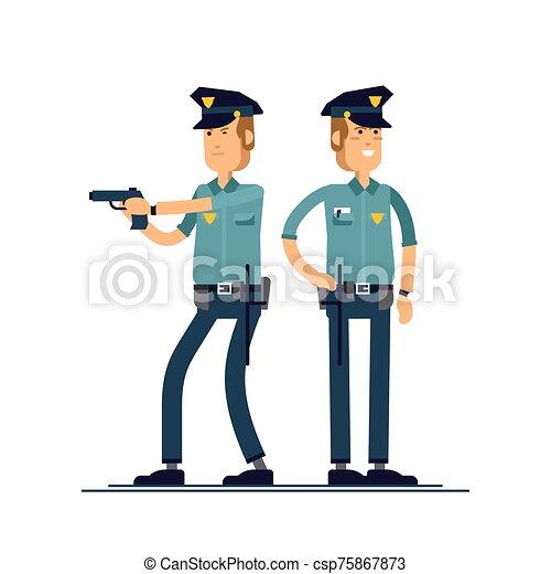 セット, 安全, 白, 地位, 隔離された, 公衆, 士官, ユニフォーム, ベクトル, マレ, character., 別, イラスト, 特徴, バックグラウンド。, poses., 警官 - csp75867873