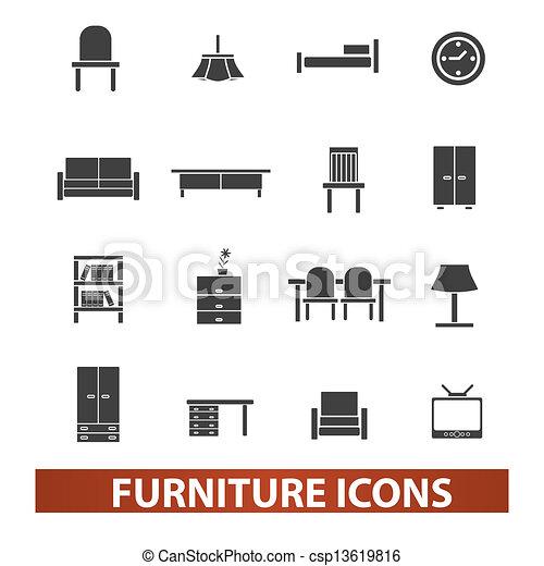 セット, 家具, ベクトル, アイコン - csp13619816