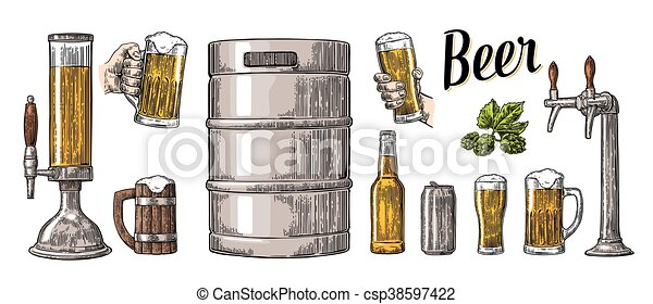 セット, 小樽, 缶, ビール, 2, 大袈裟な表情をしなさい, 手を持つ, bottle., 蛇口, ガラス - csp38597422