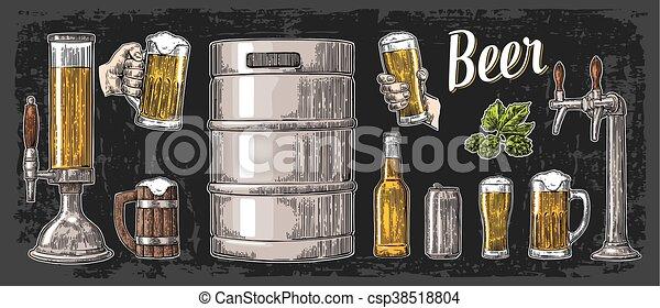 セット, 小樽, 缶, ビール, 2, 大袈裟な表情をしなさい, 手を持つ, bottle., 蛇口, ガラス - csp38518804