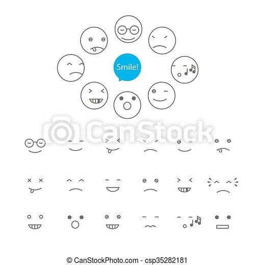 セット, 微笑, ベクトル - csp35282181