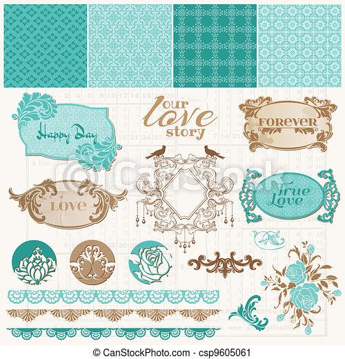 セット, 愛, 型, -, ベクトル, デザイン, スクラップブック, 要素 - csp9605061