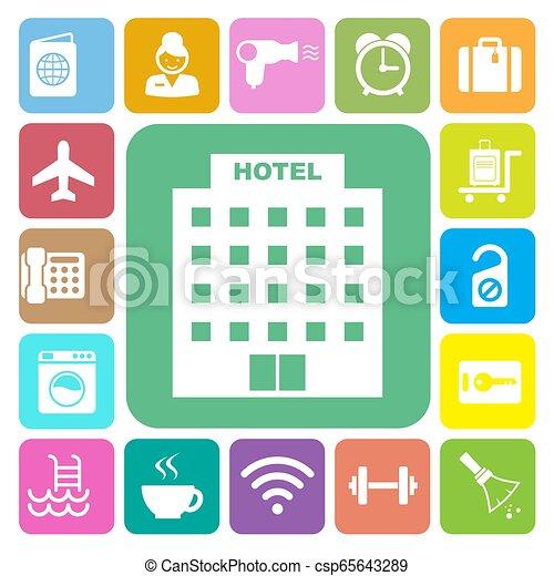 セット, 旅行, アイコン, ホテル - csp65643289