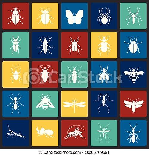 セット, 昆虫, 現代, デザイン, 最新流行である, デザイン, 網アイコン, concept., 単純である, インターネット, 正方形, シンボル, ウェブサイト, 印。, 背景色, グラフィック, モビール, ボタン, app., ベクトル, ∥あるいは∥ - csp65769591