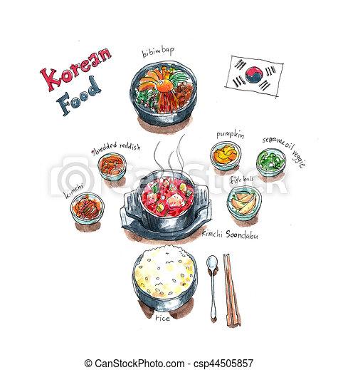 セット 皿 いたずら書き 食物 水彩画 スープ 韓国語 Kimchi 絵
