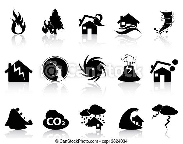 セット, 自然災害, アイコン - csp13824034