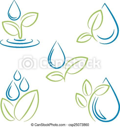 セット, 葉, シンボル, 低下, 水, ベクトル - csp25073860