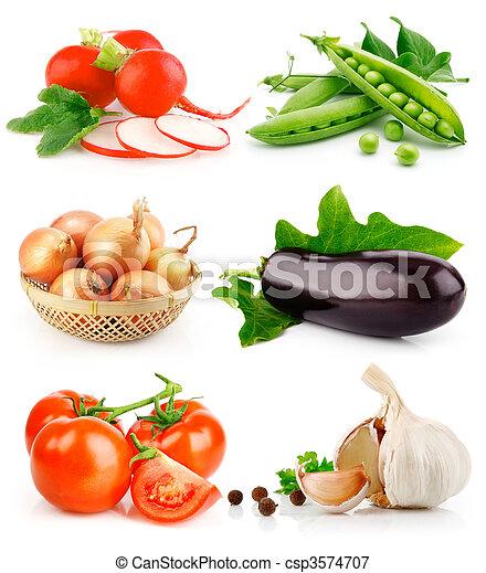 セット, 葉, 緑, 成果, 野菜, 新たに - csp3574707