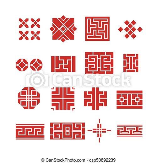 セット, 装飾, 中国語, アイコン - csp50892239