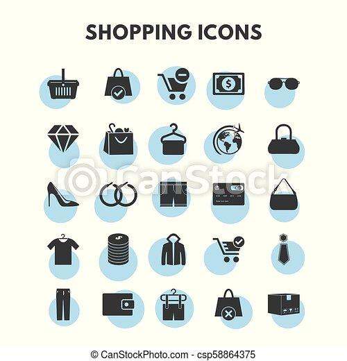 セット, 買い物, アイコン - csp58864375