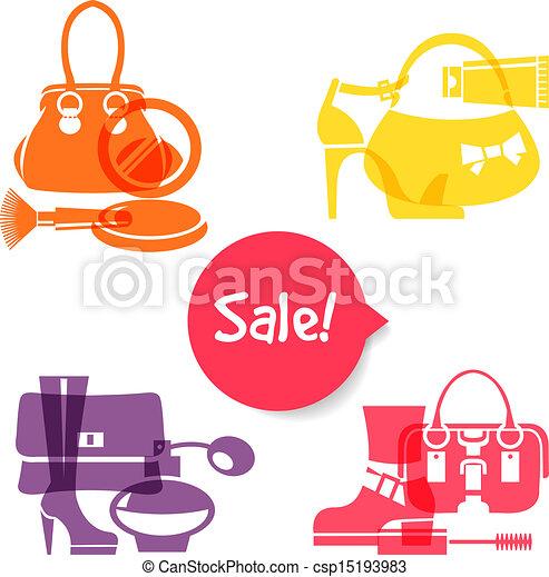 セット, 買い物, セール, icons., 優雅である, ファッション, サイン, 流行 - csp15193983