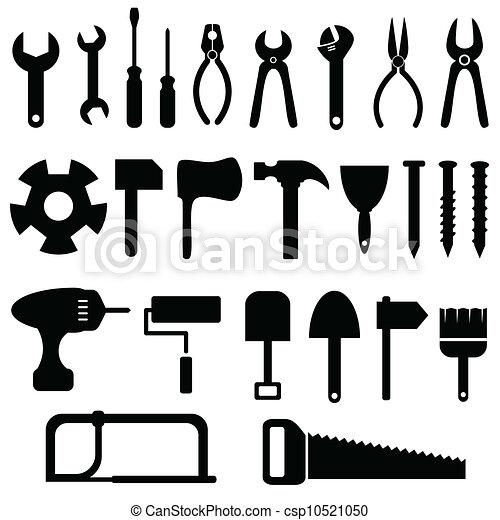 セット, 道具, アイコン - csp10521050
