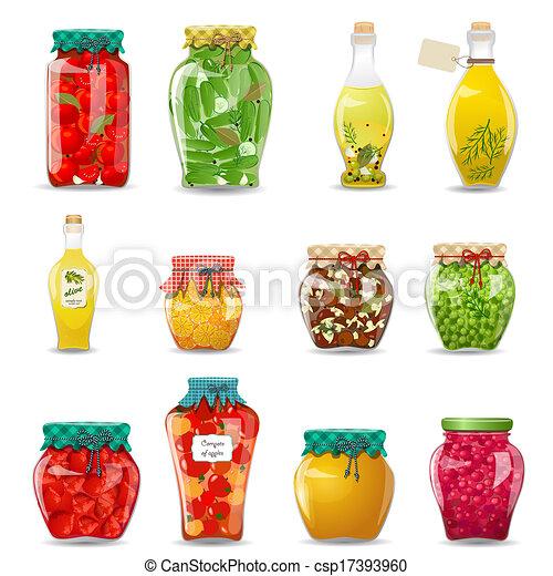 セット, 野菜, きのこ, 蜂蜜, ガラス, フルーツ, デザイン, 維持された, ジャー, あなたの - csp17393960