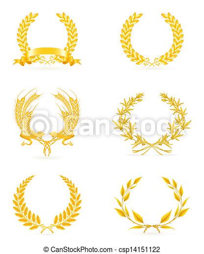 セット, 金, 花輪, eps10 - csp14151122