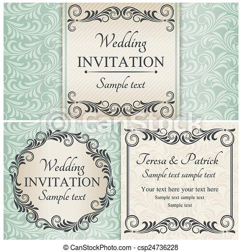 セット, 青, バロック式, 結婚式の招待 - csp24736228