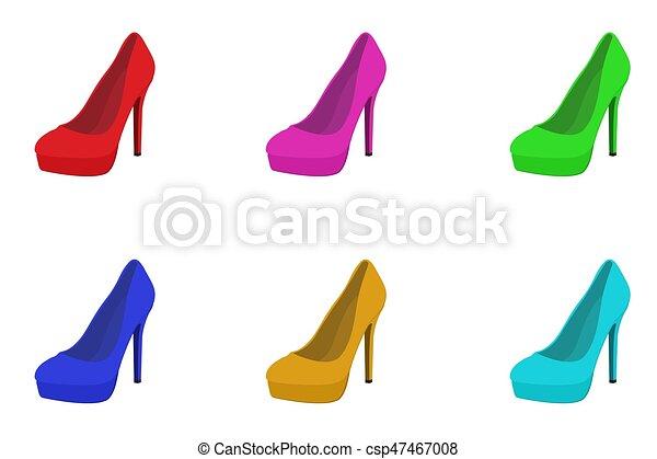 セット 靴 イラスト 高く ベクトル かかと