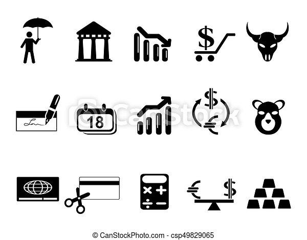 セット, 黒, 金融, 銀行, アイコン - csp49829065