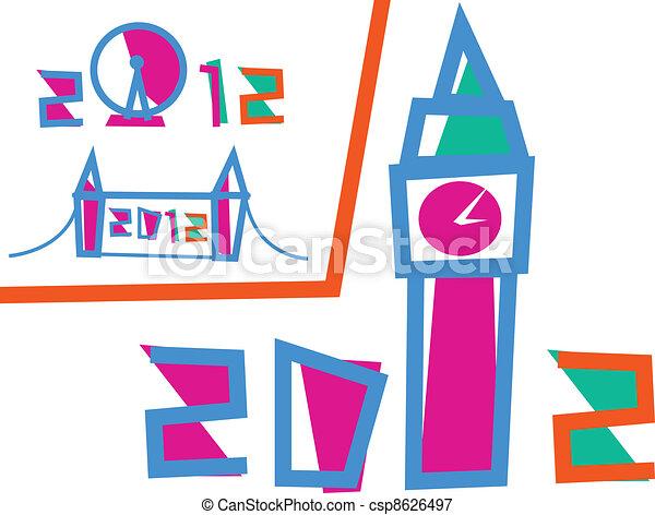 セット, 3, ロンドン, イラスト, games., 2012 - csp8626497