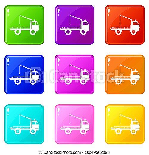 セット, 9, towing, 自動車, アイコン, トラック - csp49562898