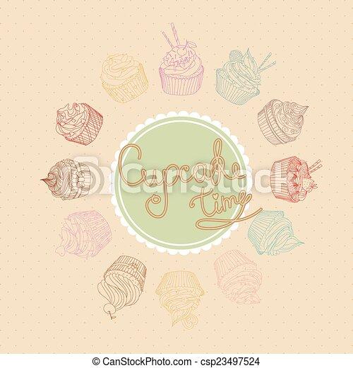 セット, cupcake - csp23497524