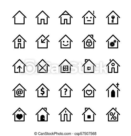セット, illustration., 家, ベクトル, 黒, icon. - csp57507568