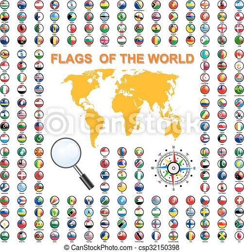 セット, states., 主権, イラスト, ベクトル, 旗, 世界 - csp32150398