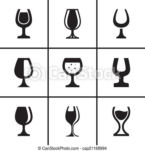 セット, wineglass, アイコン - csp21168994