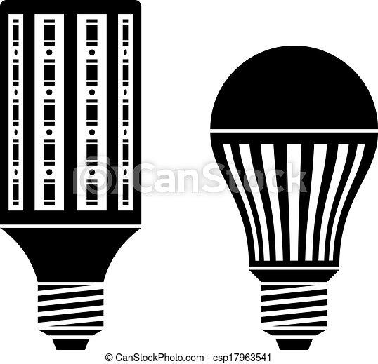 セービング, エネルギー, シンボル, ランプ, ベクトル, 電球, リードした - csp17963541