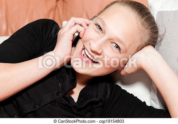 ソファー, 女の子, あること, 電話 - csp19154803