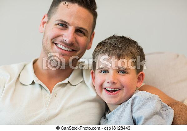 ソファー, 幸せ, 父, 息子 - csp18128443