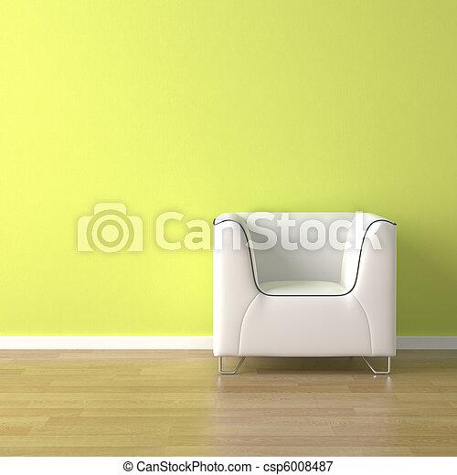 ソファー, 緑, デザイン, 内部, 白 - csp6008487