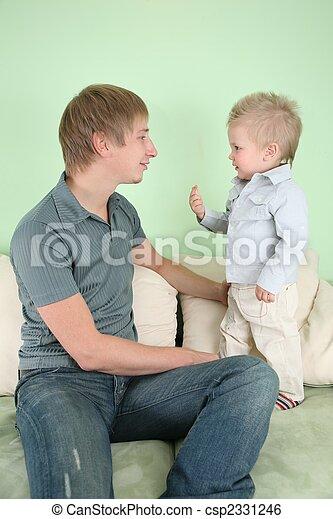 ソファー, 2, 父, 息子 - csp2331246