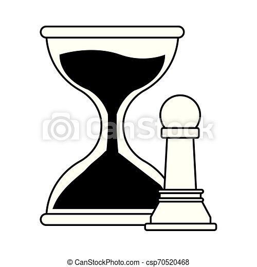 タイマー, 砂, 黒, 白, アイコン, 漫画, 砂時計 - csp70520468