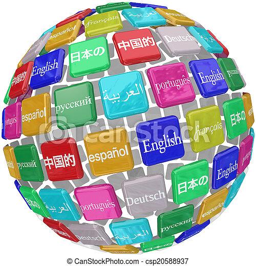 タイル, 勉強, 言語, 地球, 外国である, transl, 言葉, インターナショナル - csp20588937