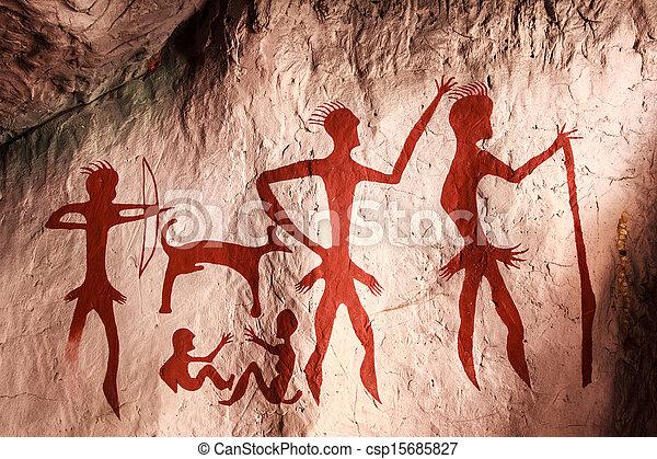 タイ, 石, 古代, 洞穴の絵 - csp15685827