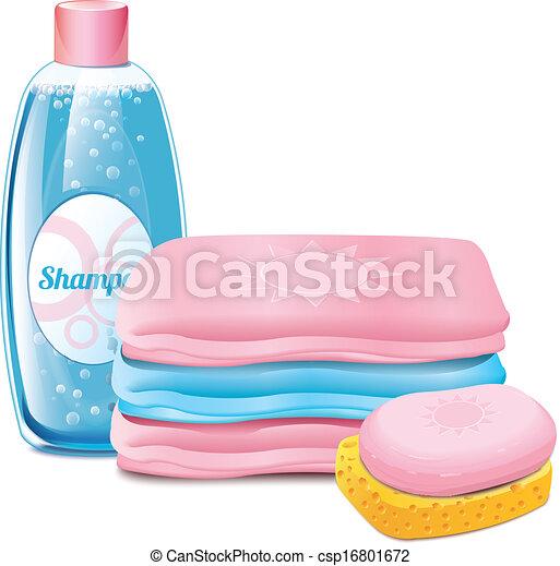 タオル, シャンプー, 石鹸 - csp16801672