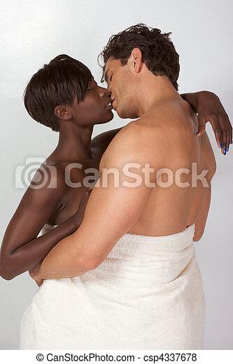 タオル, 恋人, 浴室, interracial, 包まれた, 白 - csp4337678