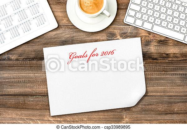 タブレット, calendar., ゴール, デジタル, resolutions, 2016 - csp33989895