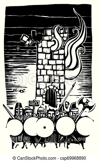 タワー, こびと, 木版, 燃焼 - csp69968890
