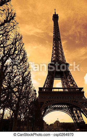 タワー, エッフェル, 日没 - csp0264970