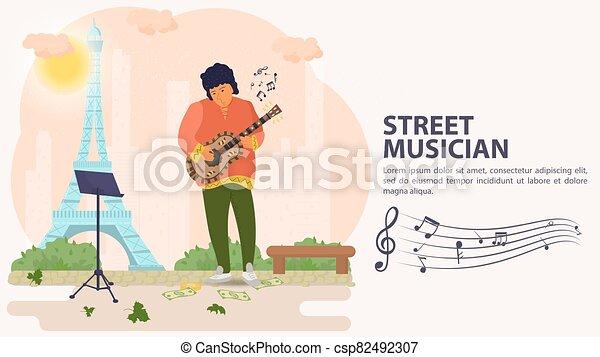 タワー, 旗, 人, 平ら, イラスト, ベクトル, 背景, 遊び, 通りの 音楽家, ギター, 漫画 - csp82492307